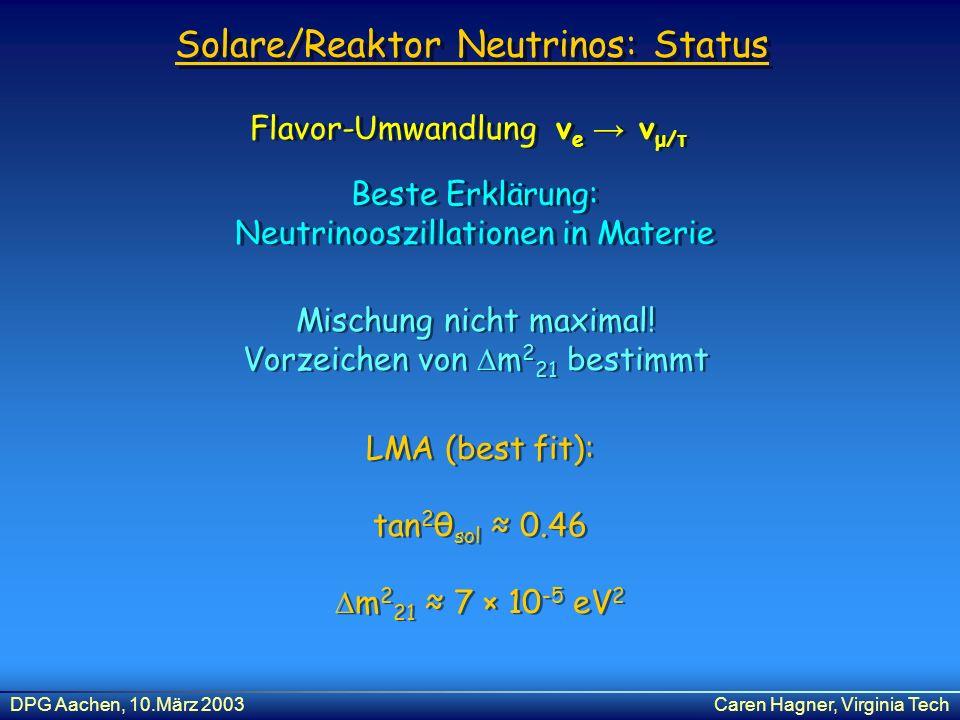 Solare/Reaktor Neutrinos: Status