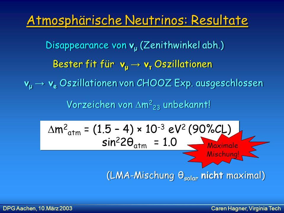 Atmosphärische Neutrinos: Resultate