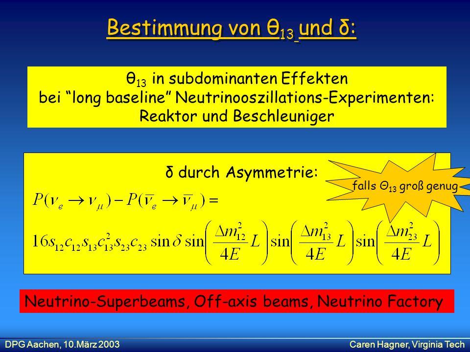 Bestimmung von θ13 und δ: θ13 in subdominanten Effekten bei long baseline Neutrinooszillations-Experimenten: Reaktor und Beschleuniger.