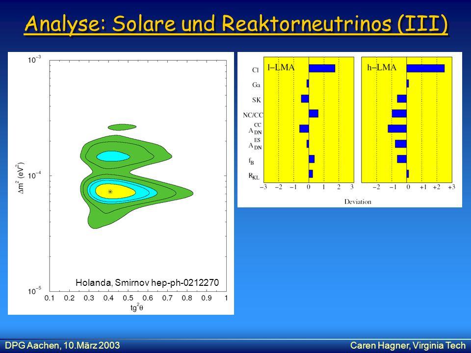 Analyse: Solare und Reaktorneutrinos (III)