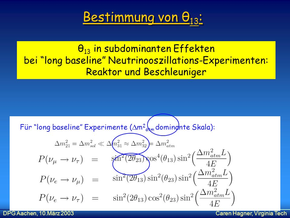 Bestimmung von θ13: θ13 in subdominanten Effekten bei long baseline Neutrinooszillations-Experimenten: Reaktor und Beschleuniger.