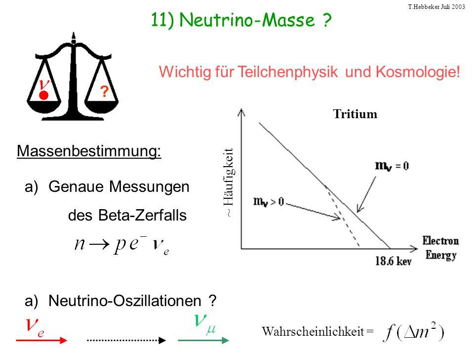 11) Neutrino-Masse Wichtig für Teilchenphysik und Kosmologie!