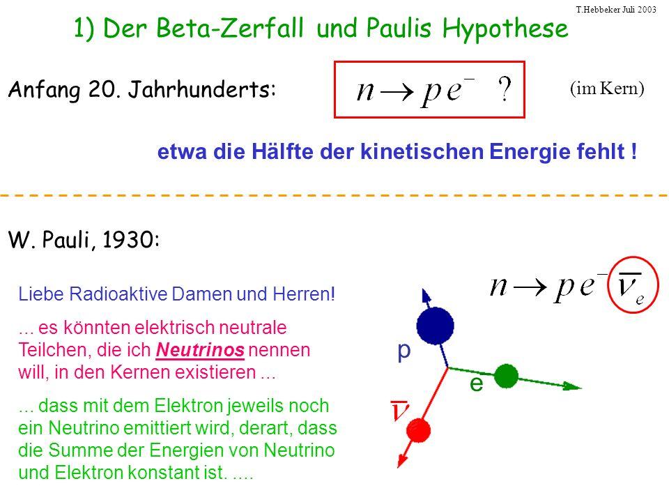 1) Der Beta-Zerfall und Paulis Hypothese