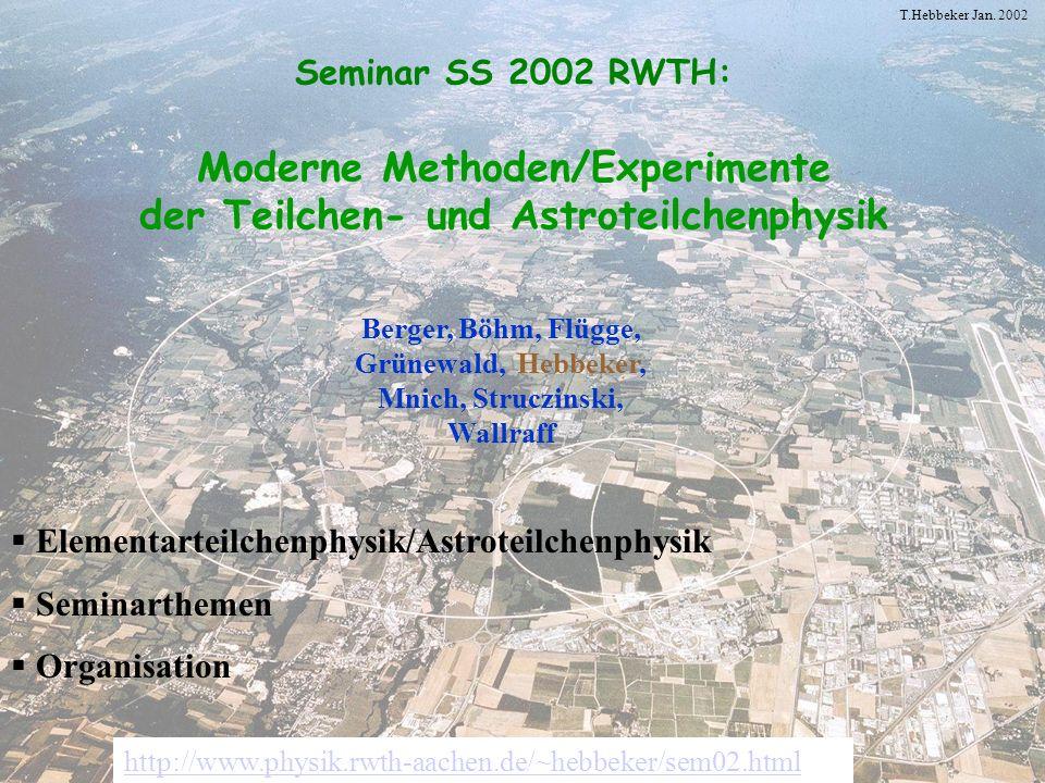 Elementarteilchenphysik/Astroteilchenphysik Seminarthemen Organisation
