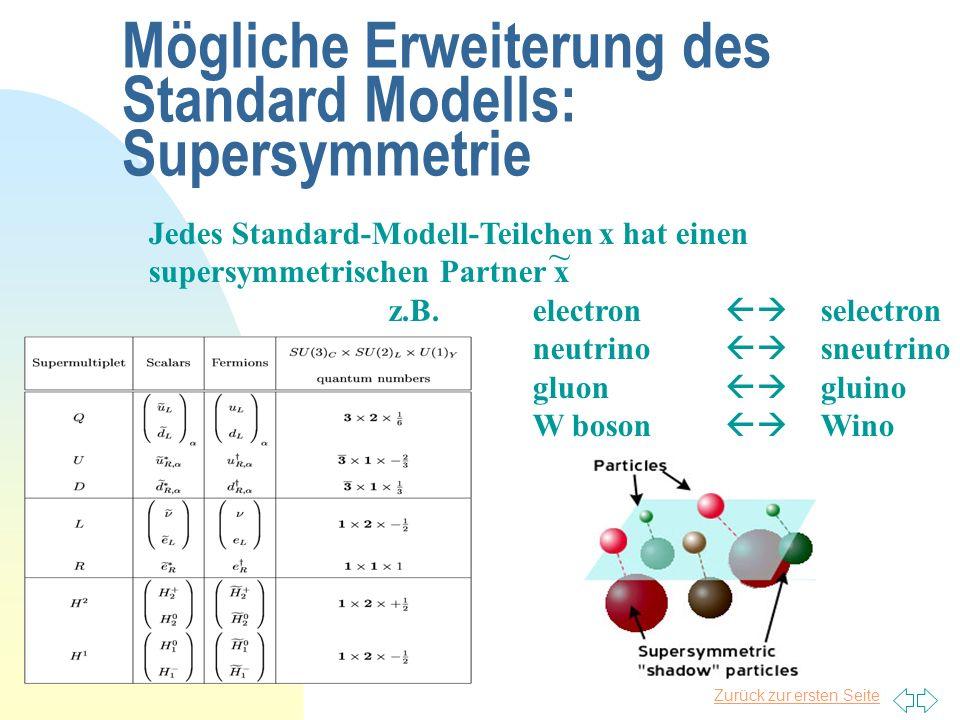 Mögliche Erweiterung des Standard Modells: Supersymmetrie