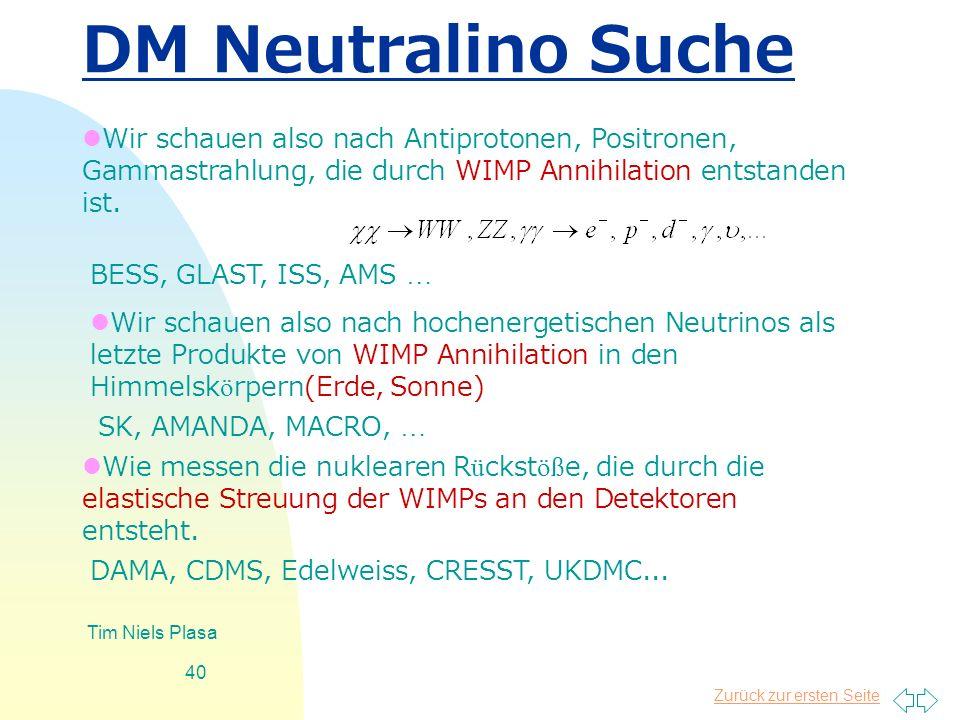 DM Neutralino Suche Wir schauen also nach Antiprotonen, Positronen, Gammastrahlung, die durch WIMP Annihilation entstanden ist.