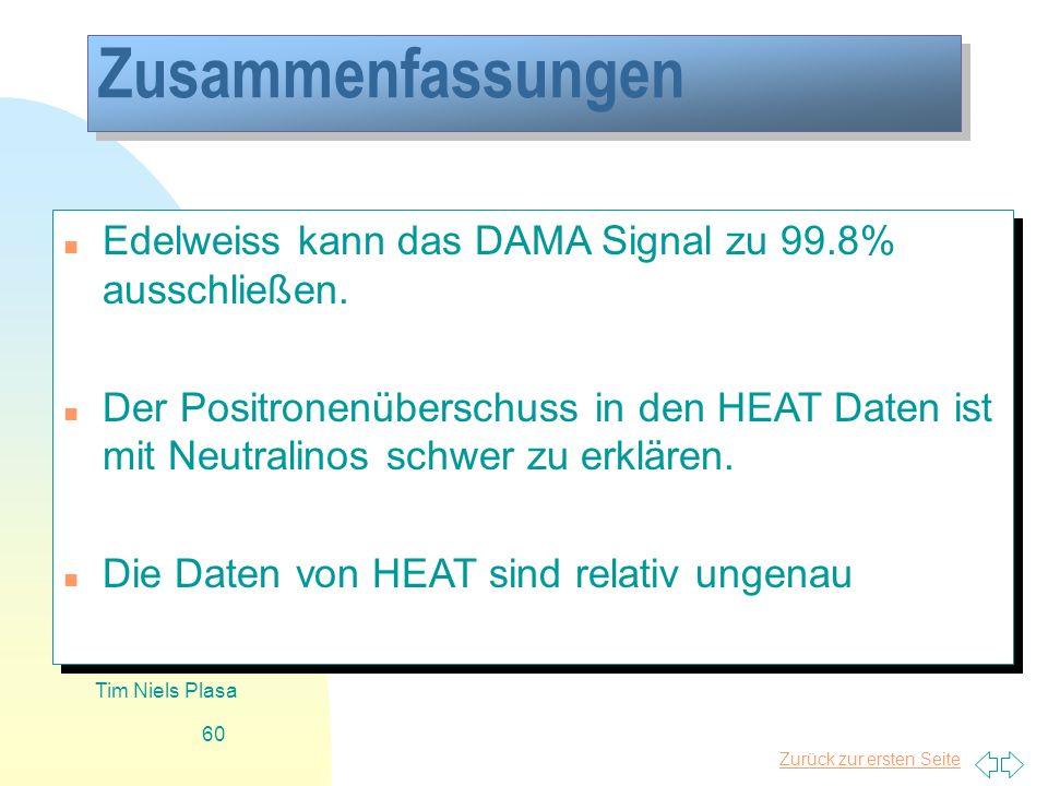 Zusammenfassungen Edelweiss kann das DAMA Signal zu 99.8% ausschließen.