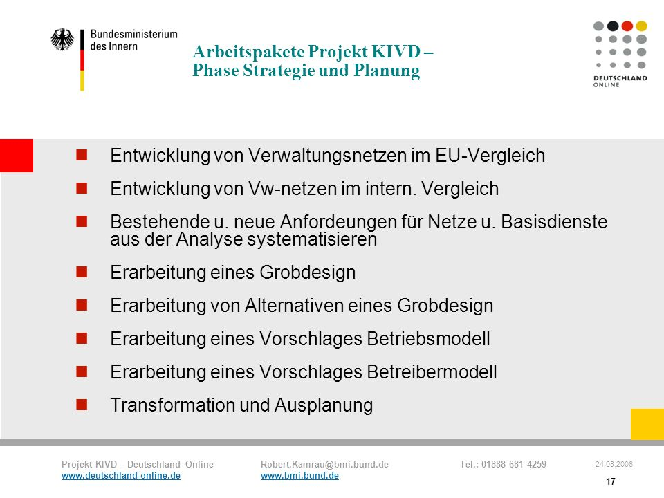 Arbeitspakete Projekt KIVD – Phase Strategie und Planung