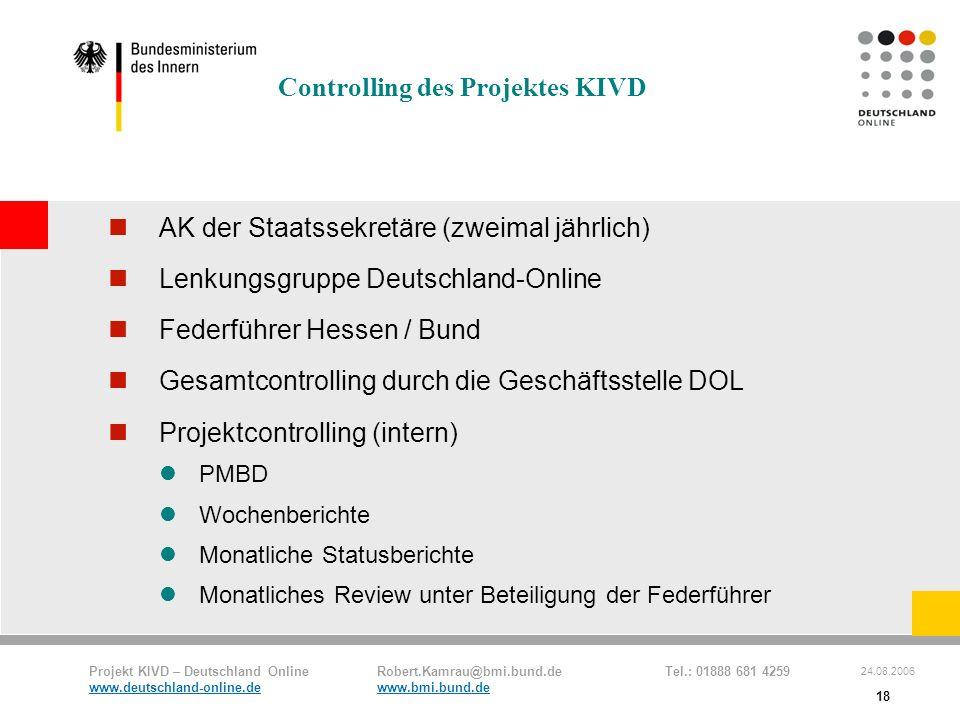 Controlling des Projektes KIVD