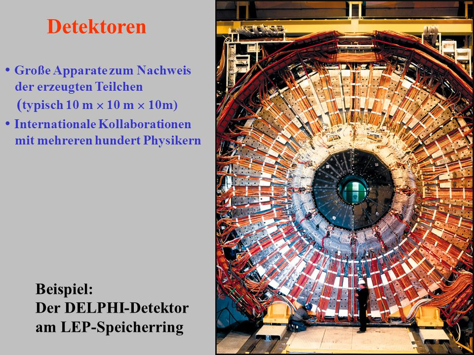 Detektoren Große Apparate zum Nachweis (typisch 10 m  10 m  10m)