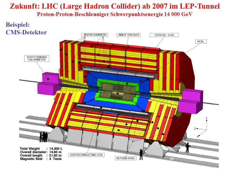 Zukunft: LHC (Large Hadron Collider) ab 2007 im LEP-Tunnel
