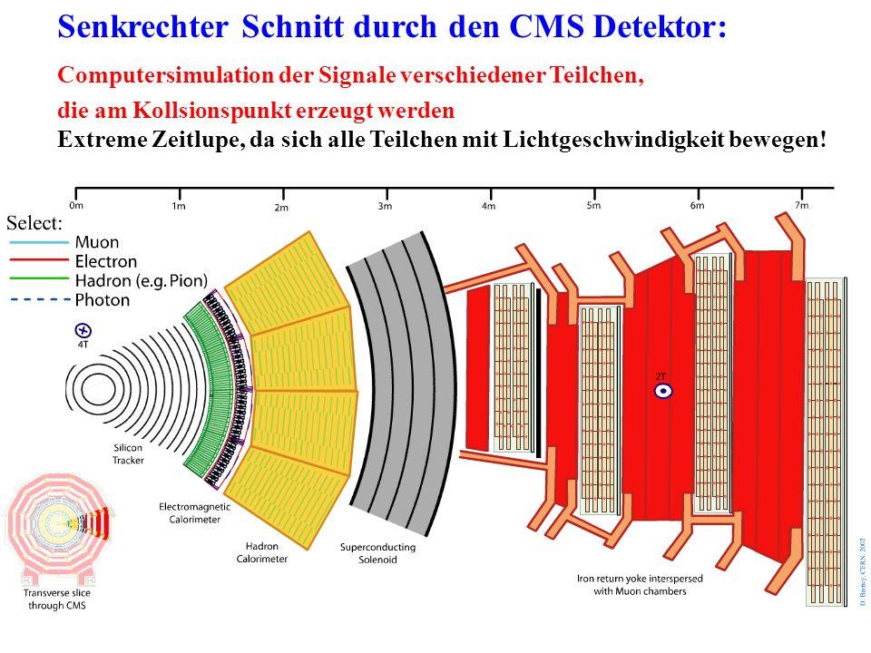 Senkrechter Schnitt durch den CMS Detektor: