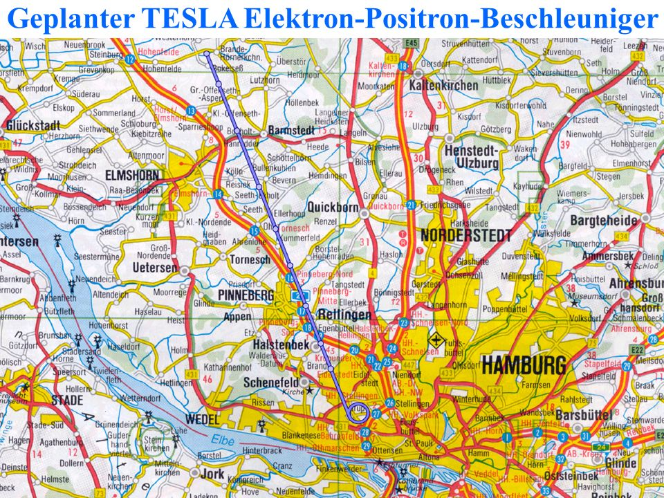 Geplanter TESLA Elektron-Positron-Beschleuniger
