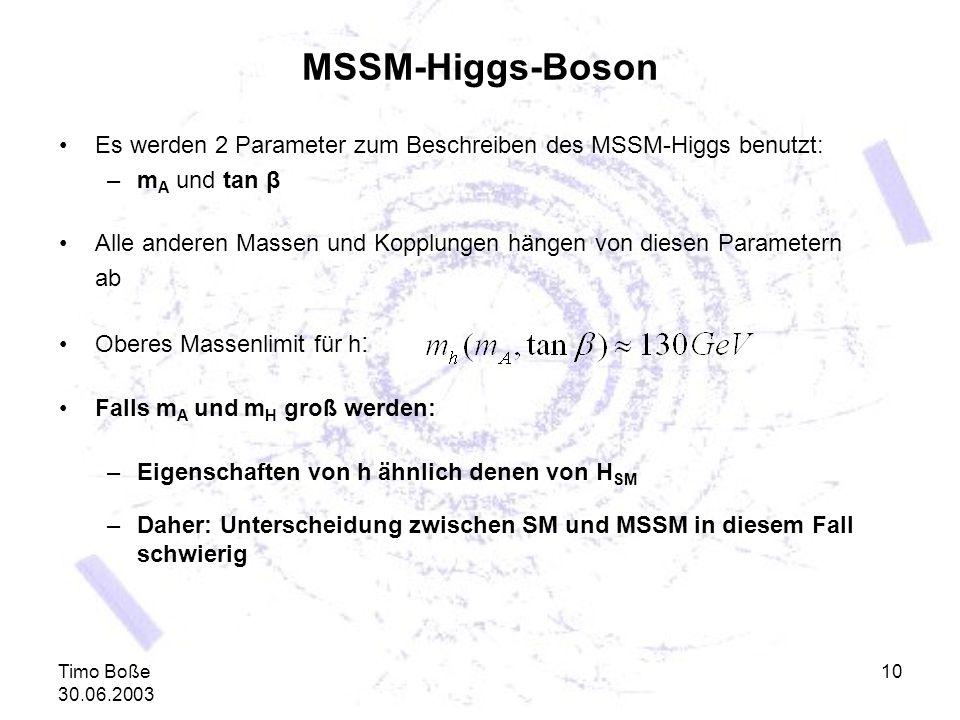 MSSM-Higgs-Boson Es werden 2 Parameter zum Beschreiben des MSSM-Higgs benutzt: mA und tan β.