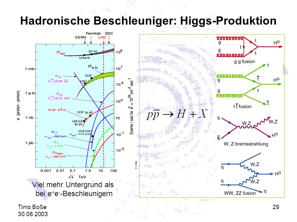 Hadronische Beschleuniger: Higgs-Produktion