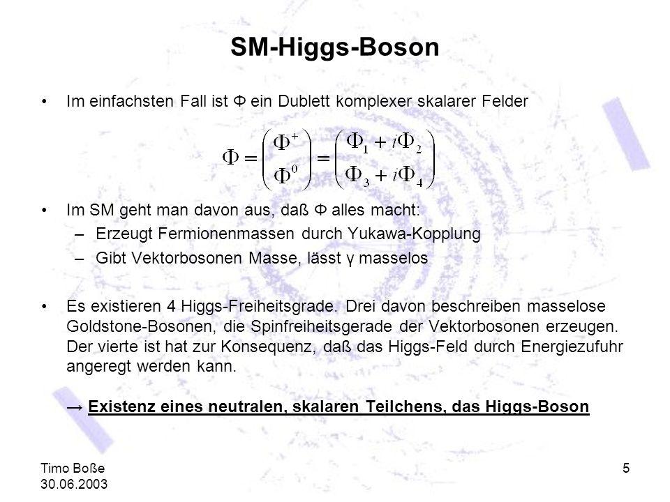 SM-Higgs-Boson Im einfachsten Fall ist Φ ein Dublett komplexer skalarer Felder. Im SM geht man davon aus, daß Φ alles macht: