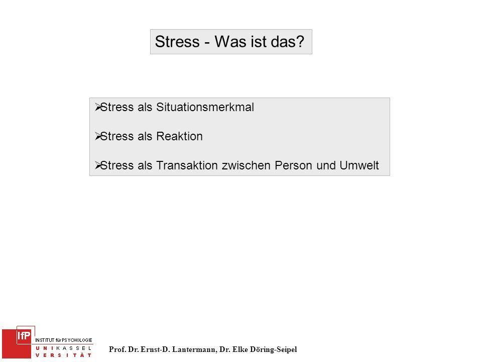 Stress - Was ist das Stress als Situationsmerkmal Stress als Reaktion