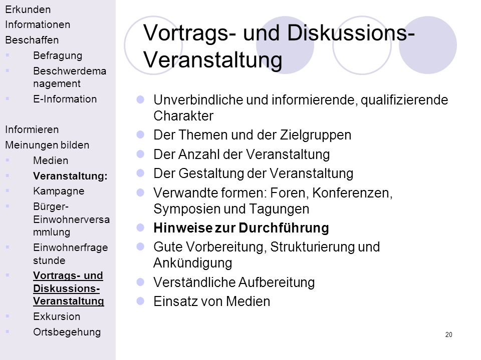Vortrags- und Diskussions-Veranstaltung