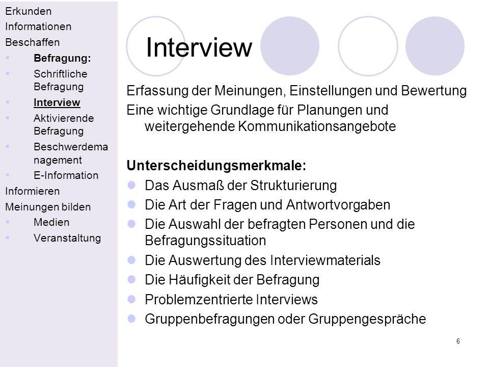 Interview Erfassung der Meinungen, Einstellungen und Bewertung