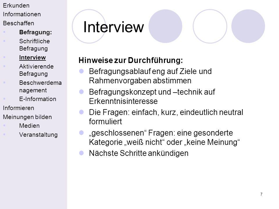Interview Hinweise zur Durchführung: