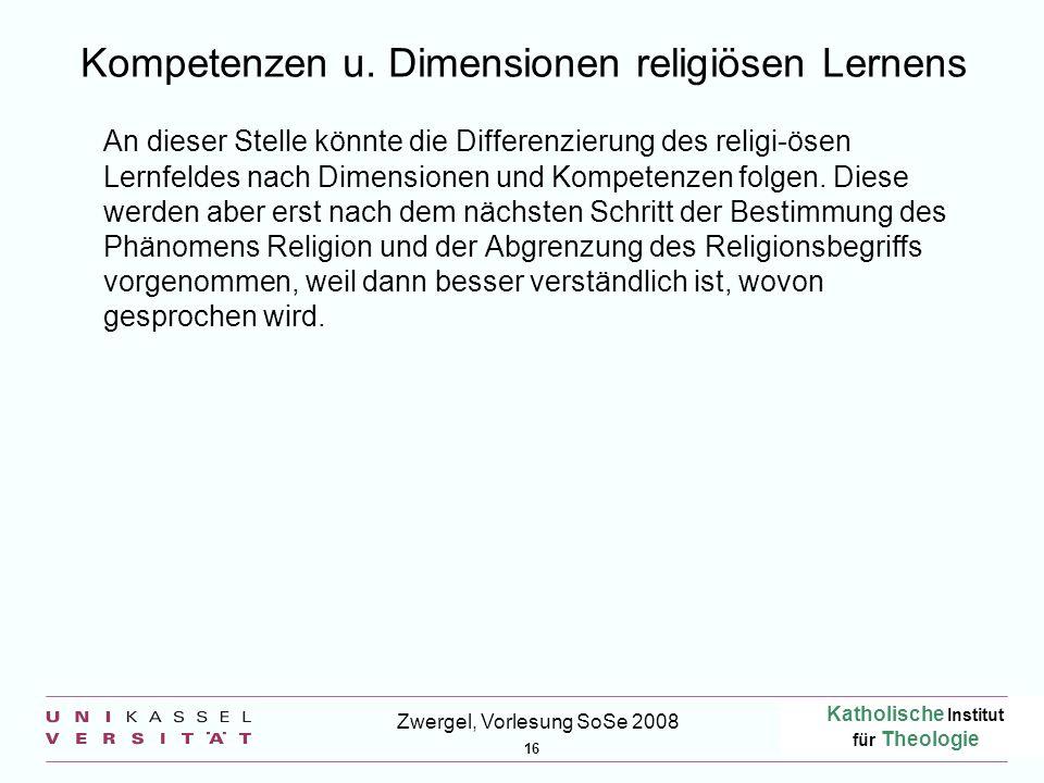 Kompetenzen u. Dimensionen religiösen Lernens