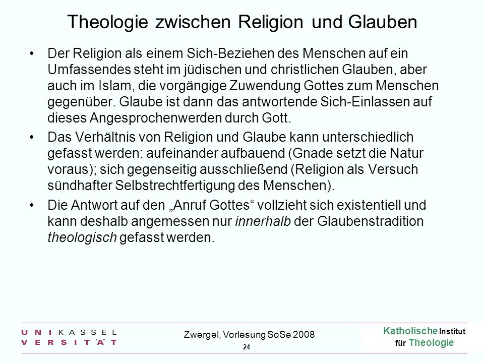 Theologie zwischen Religion und Glauben