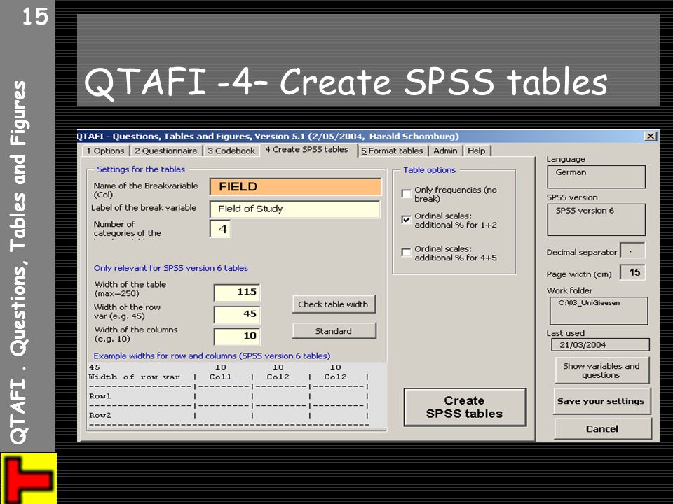 QTAFI -4– Create SPSS tables