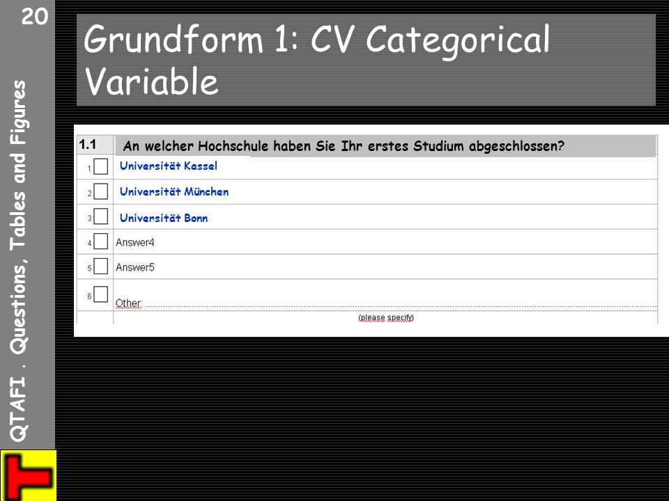 Grundform 1: CV Categorical Variable