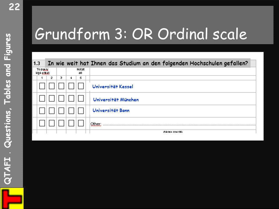 Grundform 3: OR Ordinal scale