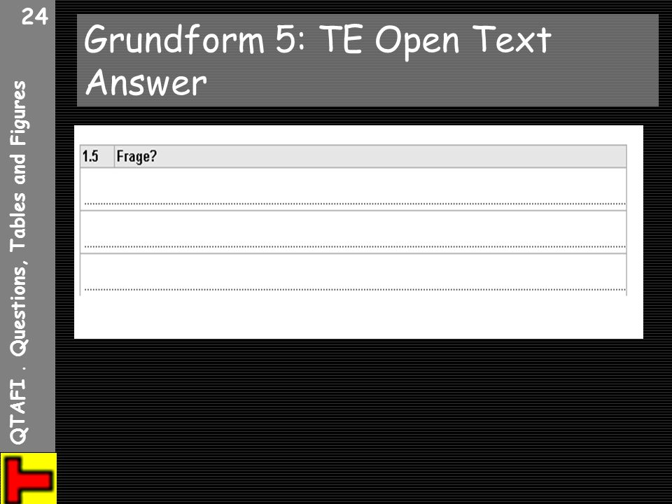 Grundform 5: TE Open Text Answer