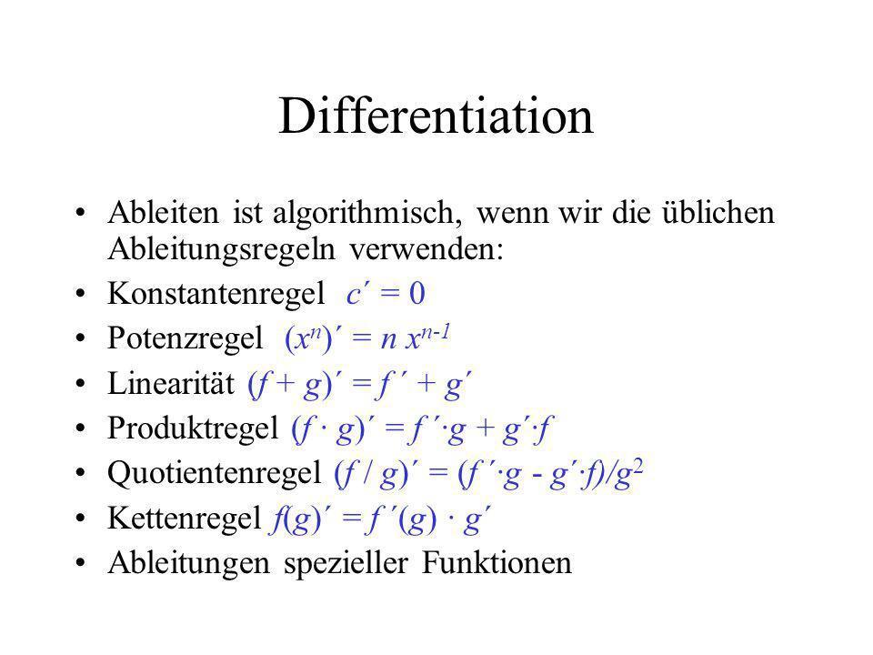 Differentiation Ableiten ist algorithmisch, wenn wir die üblichen Ableitungsregeln verwenden: Konstantenregel c´ = 0.