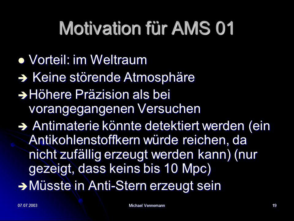 Motivation für AMS 01 Vorteil: im Weltraum Keine störende Atmosphäre