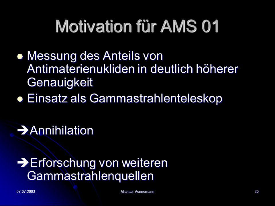 Motivation für AMS 01 Messung des Anteils von Antimaterienukliden in deutlich höherer Genauigkeit. Einsatz als Gammastrahlenteleskop.