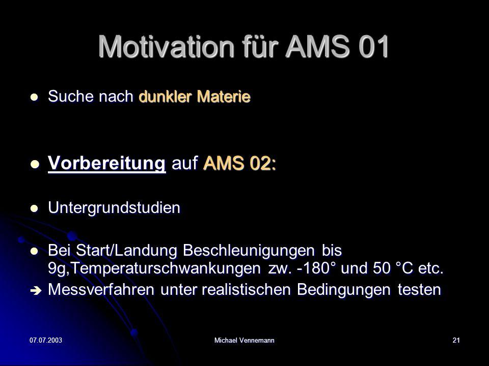 Motivation für AMS 01 Vorbereitung auf AMS 02: