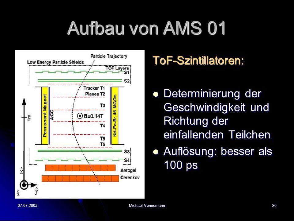 Aufbau von AMS 01 ToF-Szintillatoren: