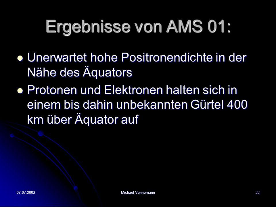 Ergebnisse von AMS 01: Unerwartet hohe Positronendichte in der Nähe des Äquators.