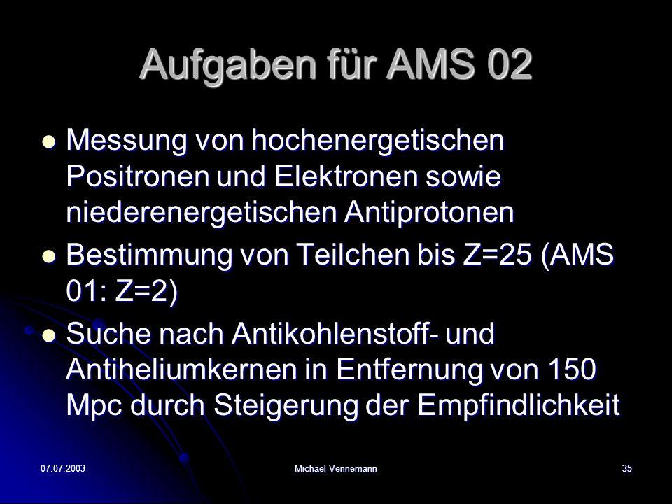 Aufgaben für AMS 02 Messung von hochenergetischen Positronen und Elektronen sowie niederenergetischen Antiprotonen.