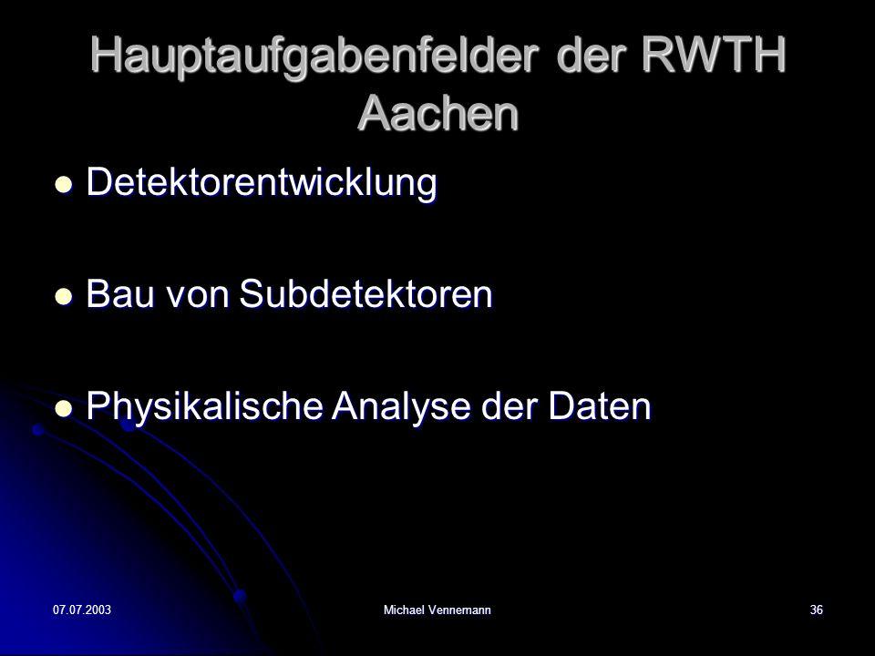 Hauptaufgabenfelder der RWTH Aachen