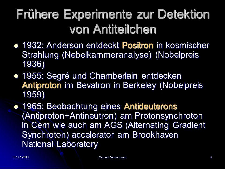 Frühere Experimente zur Detektion von Antiteilchen