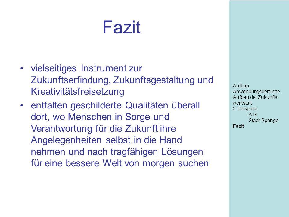 -Aufbau -Anwendungsbereiche. -Aufbau der Zukunfts- werkstatt. -2 Beispiele. A14. Stadt Spenge.