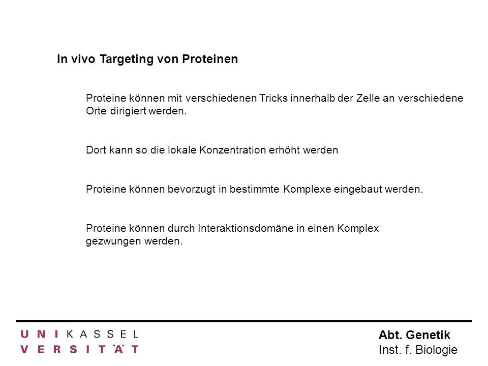 In vivo Targeting von Proteinen
