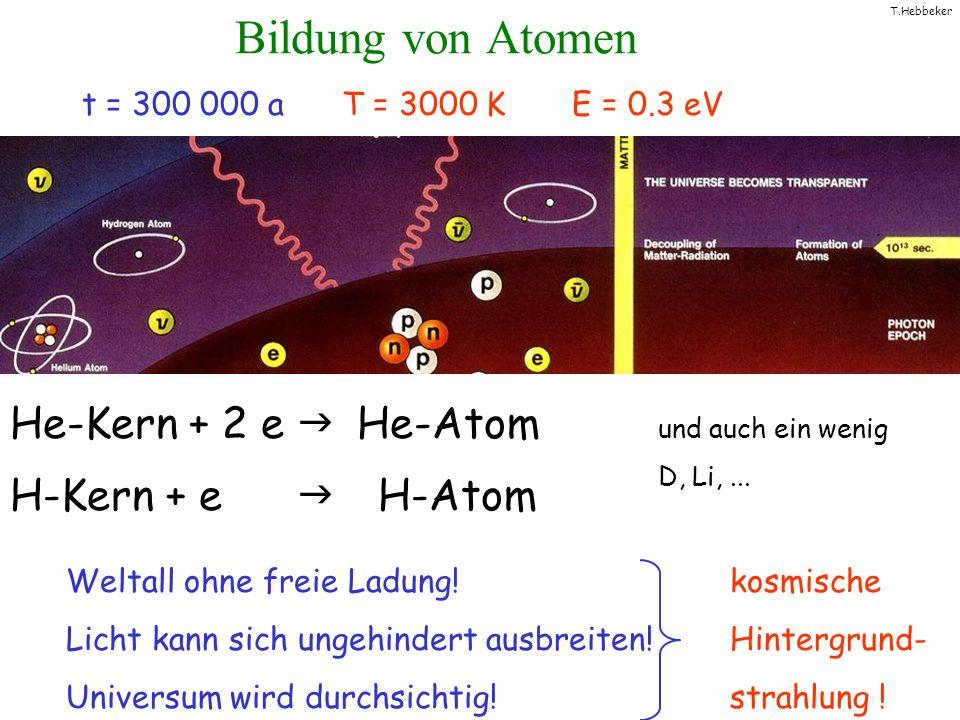 Bildung von Atomen He-Kern + 2 e g He-Atom H-Kern + e g H-Atom