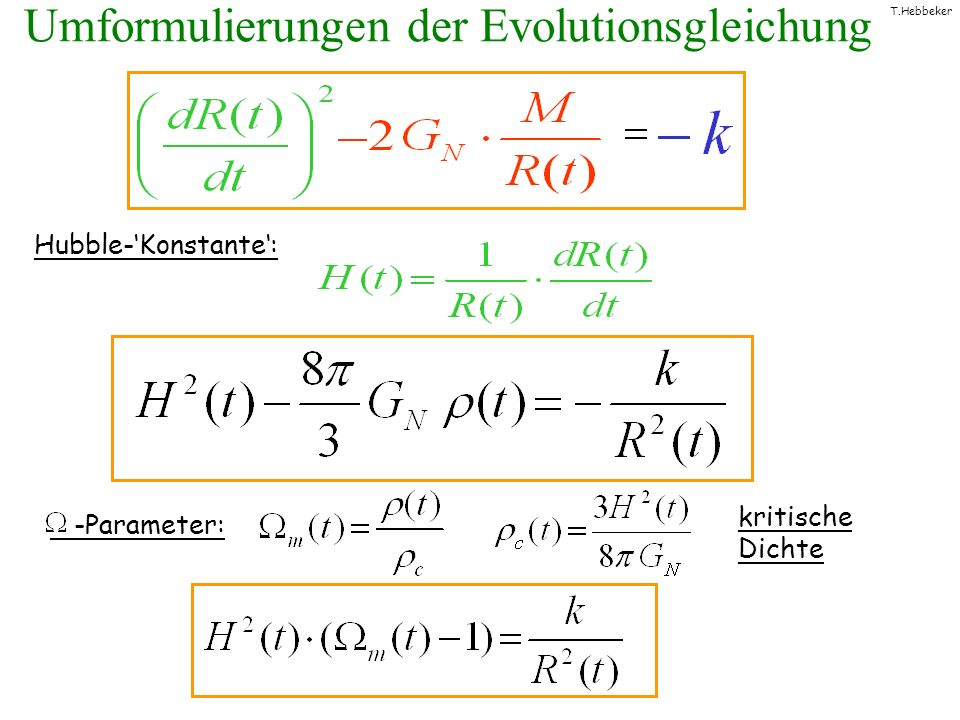 Umformulierungen der Evolutionsgleichung