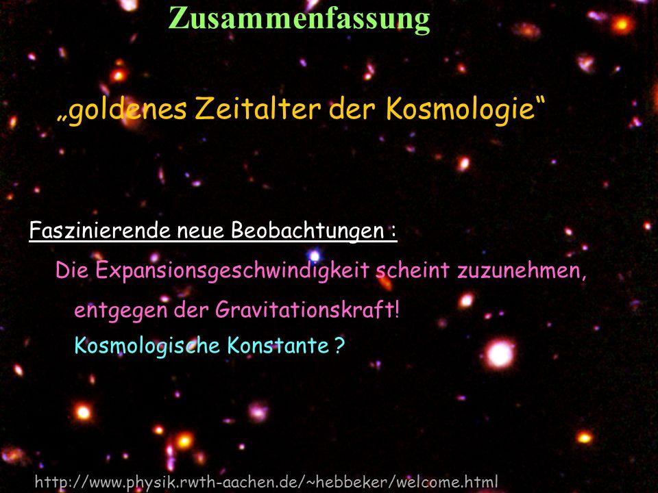 """Zusammenfassung """"goldenes Zeitalter der Kosmologie"""
