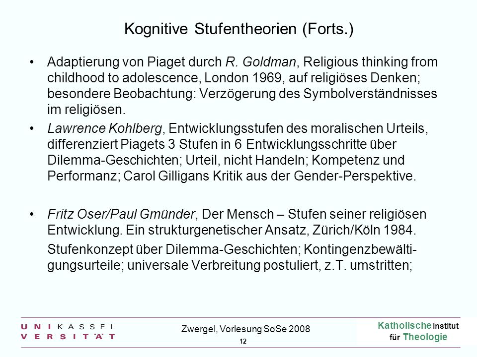 Kognitive Stufentheorien (Forts.)