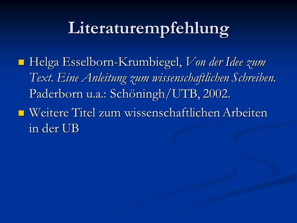 Literaturempfehlung