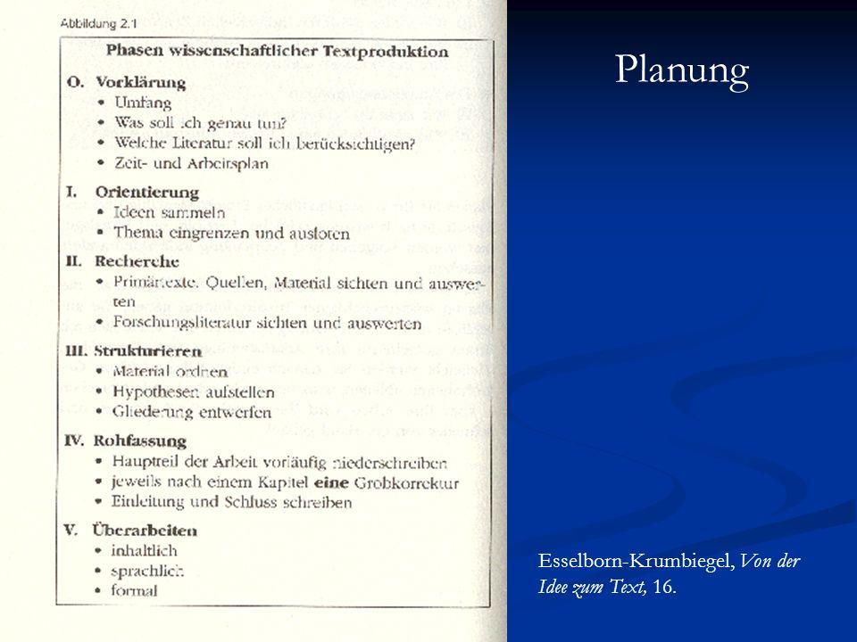 Planung Esselborn-Krumbiegel, Von der Idee zum Text, 16.