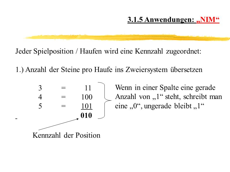 """3.1.5 Anwendungen: """"NIM Jeder Spielposition / Haufen wird eine Kennzahl zugeordnet: 1.) Anzahl der Steine pro Haufe ins Zweiersystem übersetzen."""