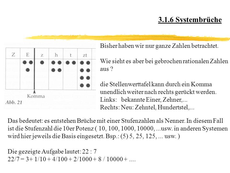 3.1.6 Systembrüche Bisher haben wir nur ganze Zahlen betrachtet.