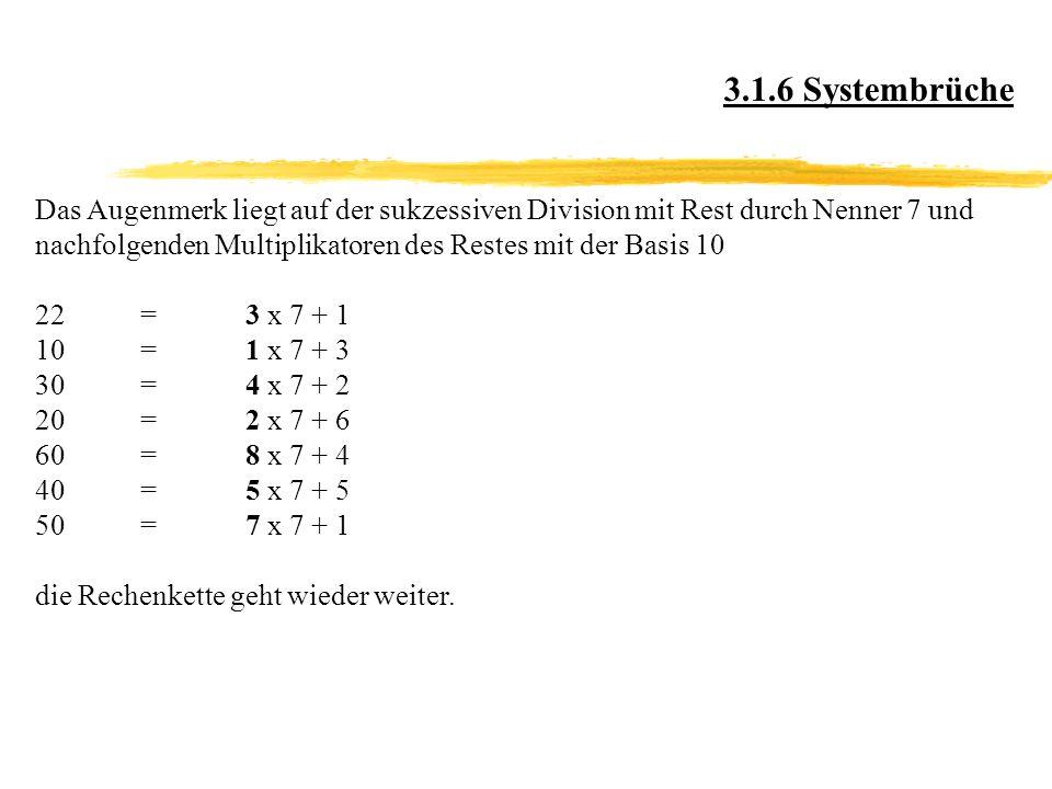 3.1.6 Systembrüche Das Augenmerk liegt auf der sukzessiven Division mit Rest durch Nenner 7 und.
